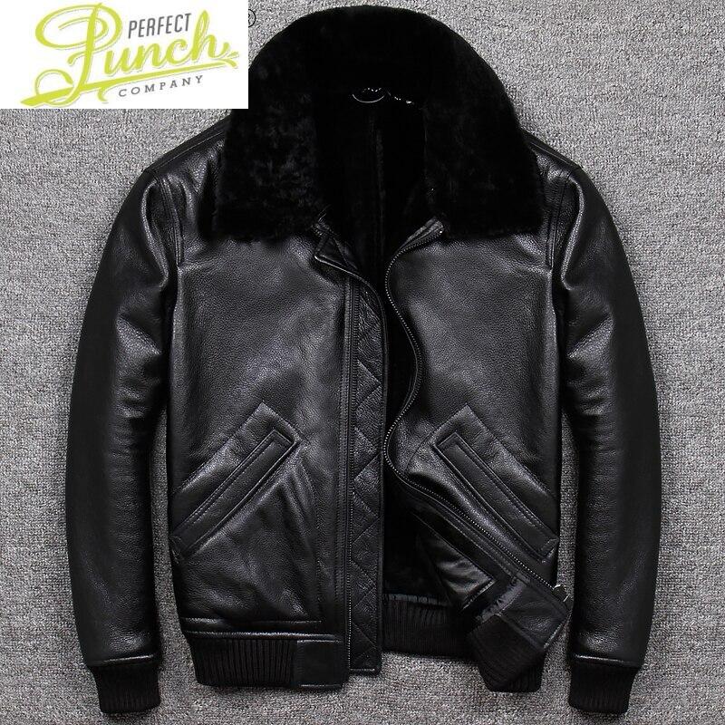 حقيقي الرجال سترة جلدية الرجال الشتاء معطف الفرو الحقيقي الأغنام الطبيعية شيرلينغ سترة دافئة الرجال سترات من الجلد M9904