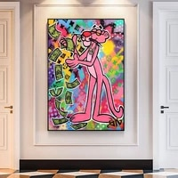 graffiti art pink panther canvas painting colourful posters and prints cuadros street wall art pictures for living room decor