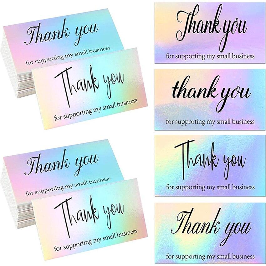 50 шт./упак. спасибо открытки для малого бизнеса спасибо за поддержку открыток, голографические открытки для покупок, спасибо, поздравительн...