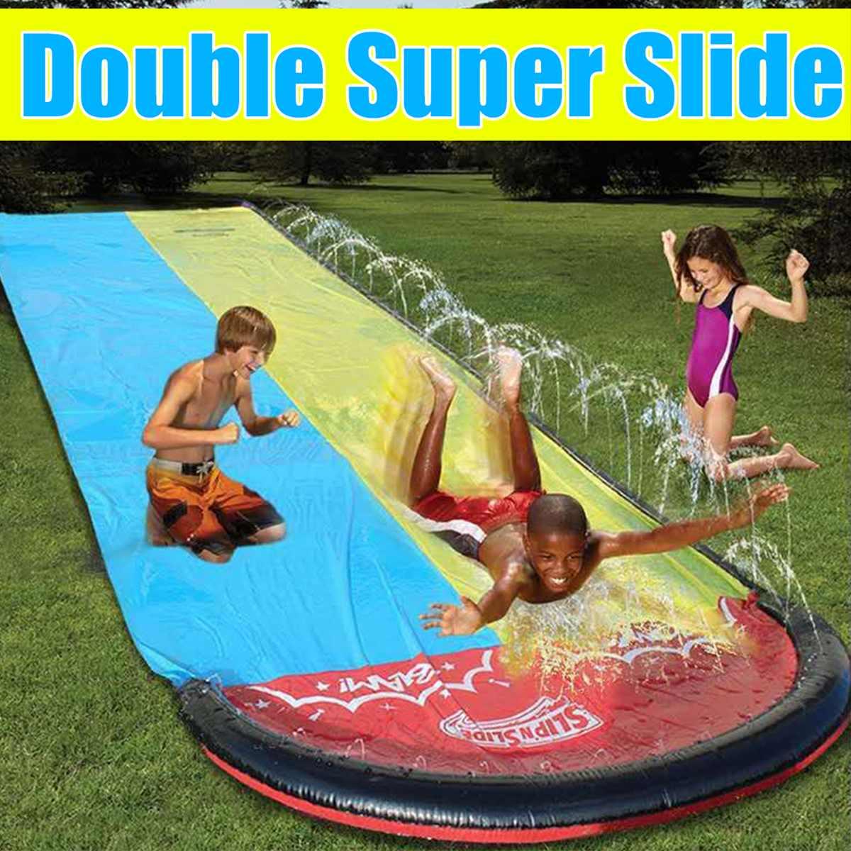 6.1m 4.8m Double Surf WaterSlide Children Summer Lawn Slides Outdoor Garden Backyard Fun Water Games Slider Spray Sprinkler Toy