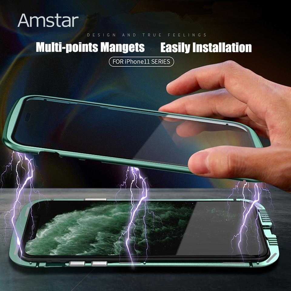 Amstar 磁気吸着強化ガラス金属ケース 360 フル守る iphone 11 プロマックス両面強化ガラスカバー