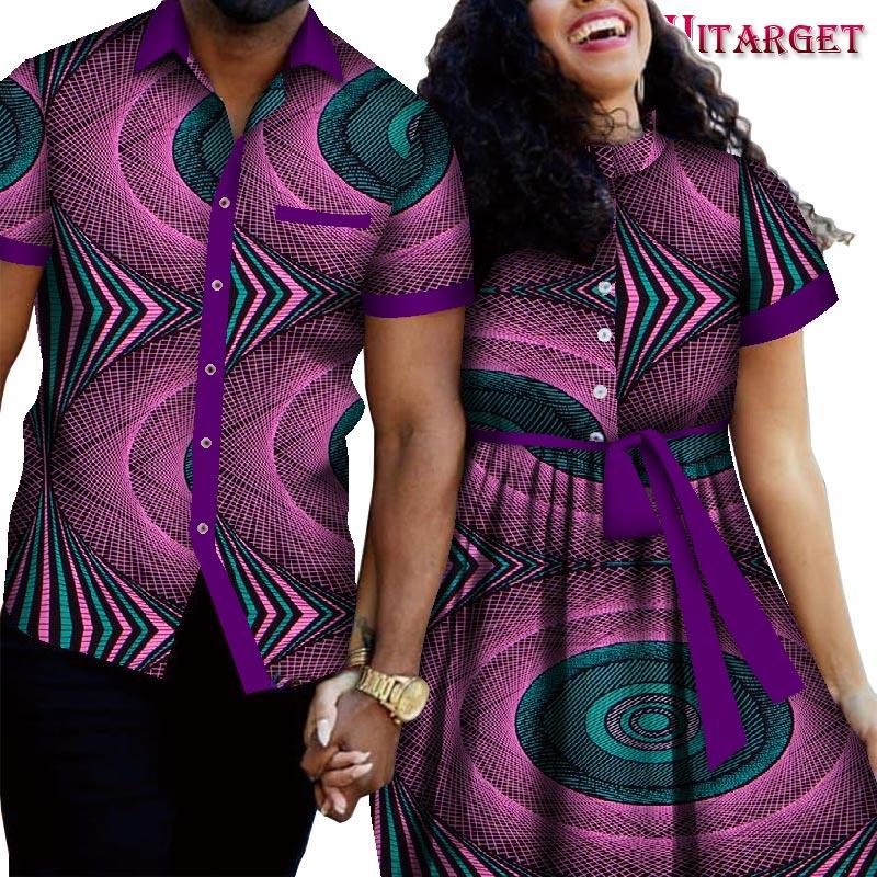Roupas de Casal Terno do Amante do Marido e da Esposa Masculinas e Saias Vestido de Festa Africano Terno Blusas Femininas 2 Peças Wyq687 2022