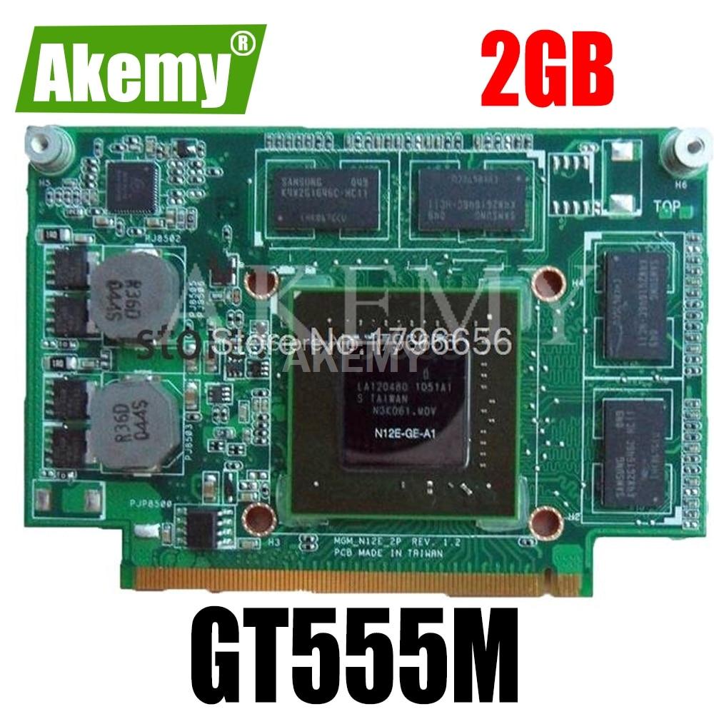 Para For For For Asus N75S N75SF N55SF N75SL N55SL GeForce GT 555M GT555M N12E-GE2-A1 Video VGA tarjeta gráfica 2GB portátil 100% de prueba