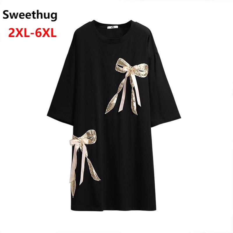 Женская свободная футболка с круглым вырезом, черная, белая, розовая Повседневная Длинная хлопковая футболка с коротким рукавом, размеры 4XL,...