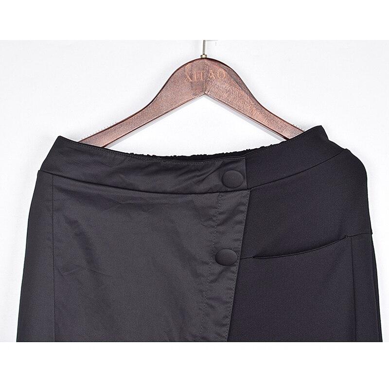 XITAO Black Tide Long Harem Pants Women Elastic Waist Button Fly Casual Modis Front Patchwork Female Trouser 2019 Autumn LJT3926