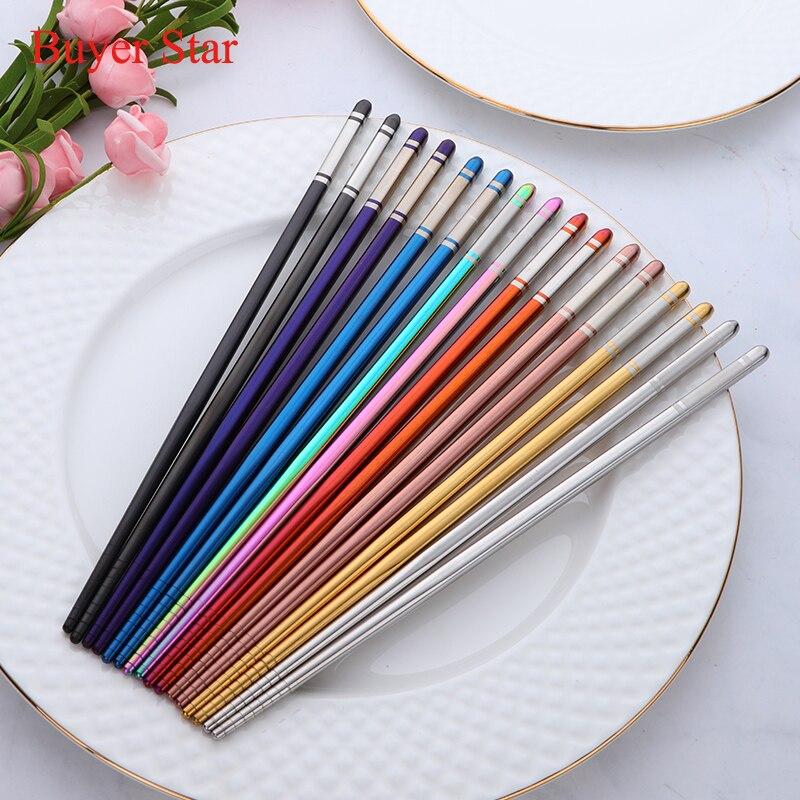 Juego de 8 pares de palillos reutilizables de acero inoxidable, plateado China de Metal para niños, palitos para comida Sushi, vajilla al por mayor