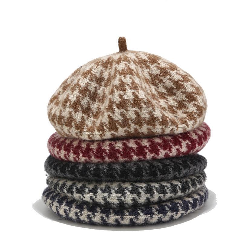 Coreano de moda lana mil pájaro gris sombrero otoño e invierno al aire libre pintor sombrero femenino británico retro bud cap