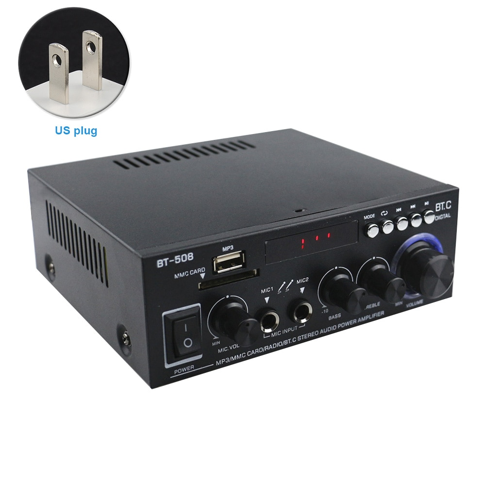 600W With Remote Control Digital Bluetooth Dual Channel Stereo FM Radio Power Amplifier Mini Bass Car Home Audio HIFI Music