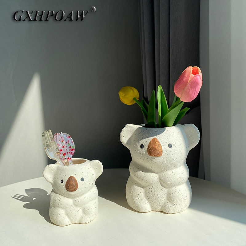 Керамические настольные цветочные горшки коала, декоративная статуя коала, ваза для суккулентов, контейнер для растений, горшки для животн...