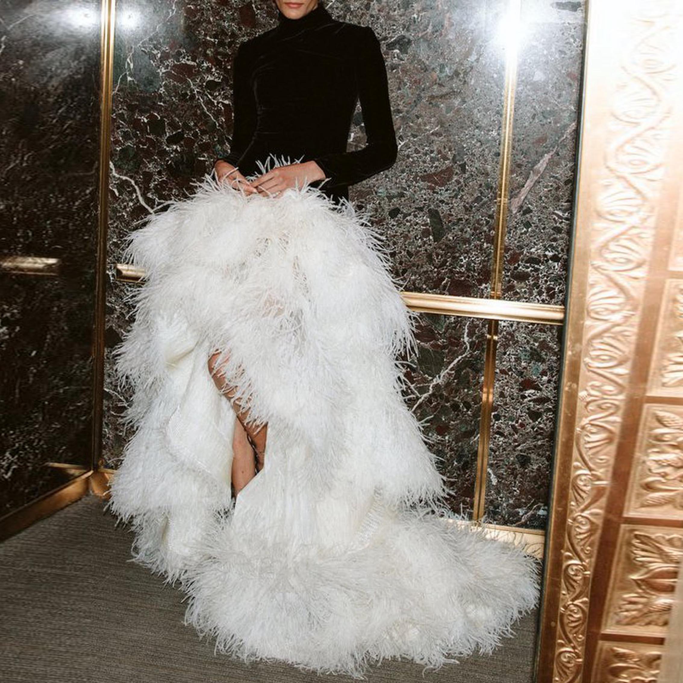 High Waist Feather Skirt High Low Formal Skirt Lush Ruffles Skirt White Ball Gown Layer Skirt With Train Evening Skirts