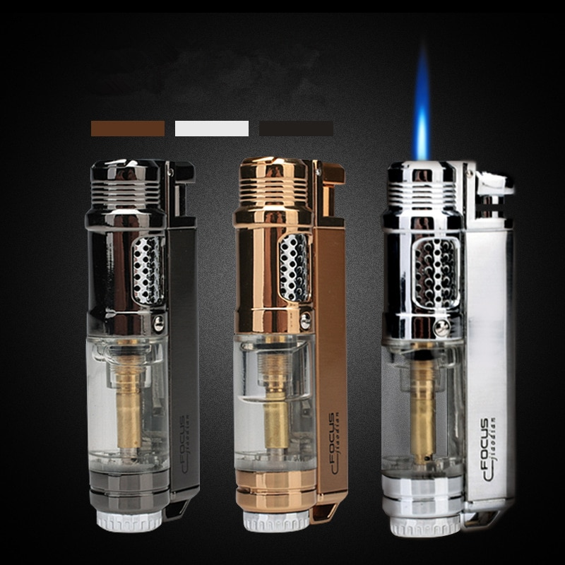 Visible Butane Window Flashlight Cigar Lighter Jet Butane Metal Turbo Lighter Portable Outdoor Tool Men's Windpipe Fittings enlarge