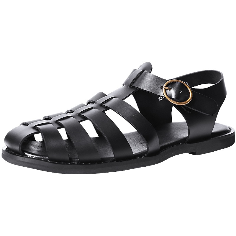 Breathable Hollow Sandals Mens British Soft Bottom Roman Shoes Male All-match Cowhide Gladiator Sandals Flip Flops Casual Shoes