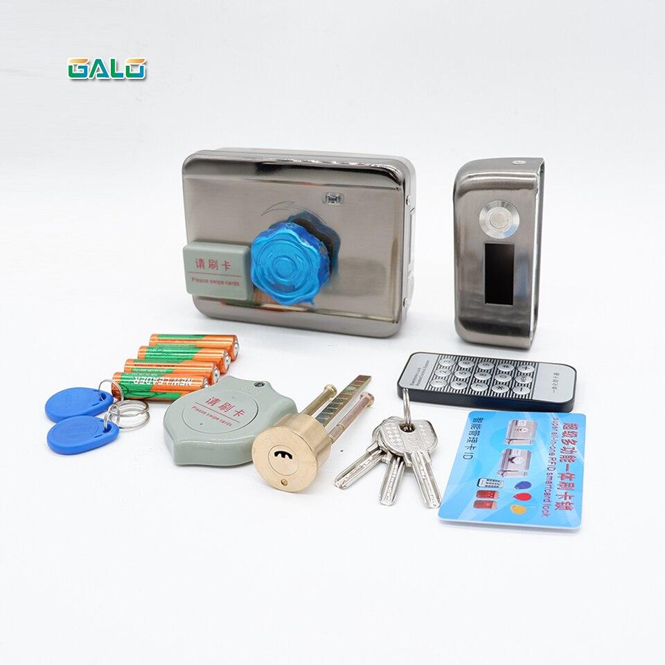 Cerradura electrónica RFID para intercomunicador de vídeo compatible con 4 Uds. Pilas AA sistema de seguridad de Control de acceso de puerta de desbloqueo remoto