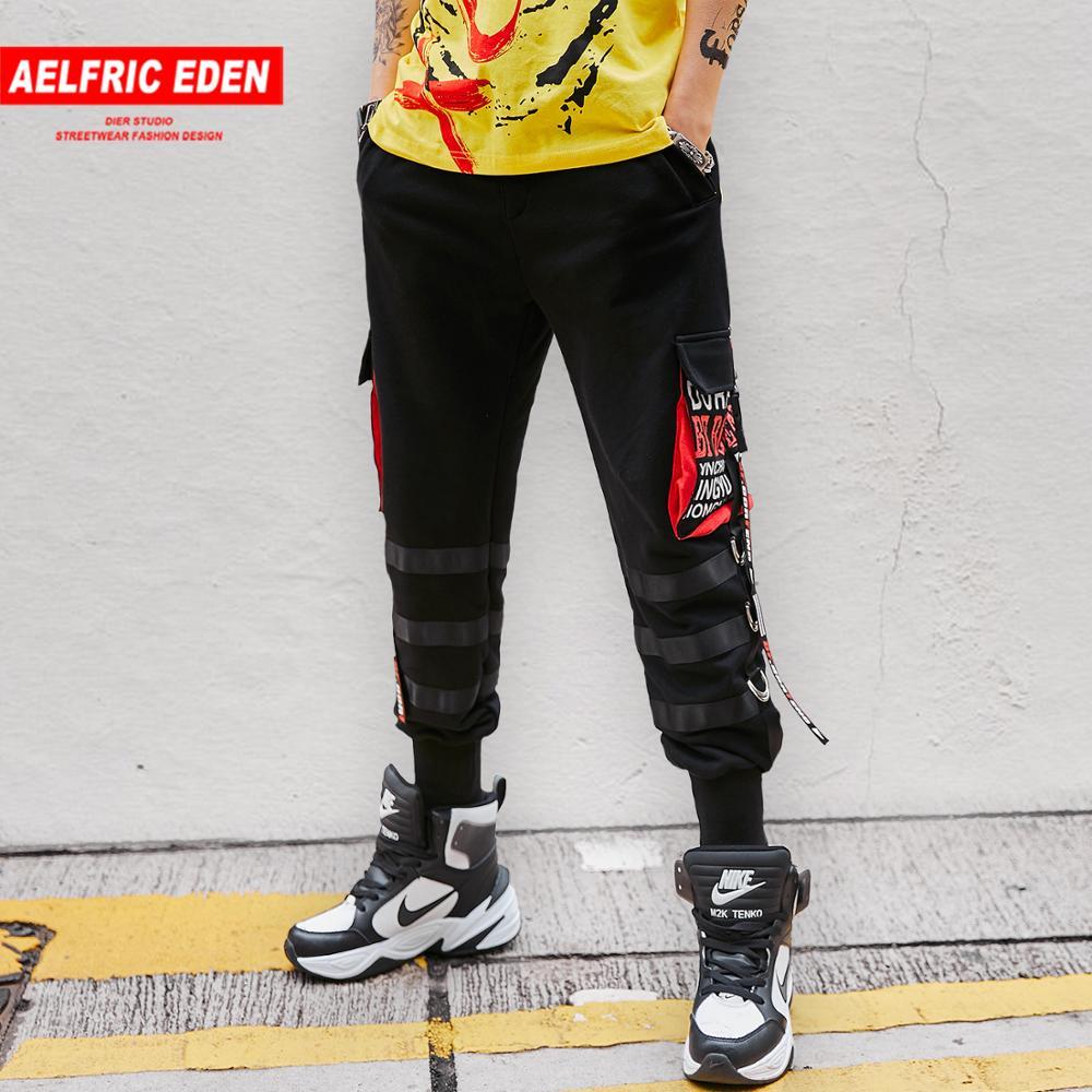 Aelfric Eden moda Multi bolsillos cintas hombres Cargo pantalones Harajuku Hip Hop Casual Streetwear Joggers Pantalones Hombre pantalones de chándal