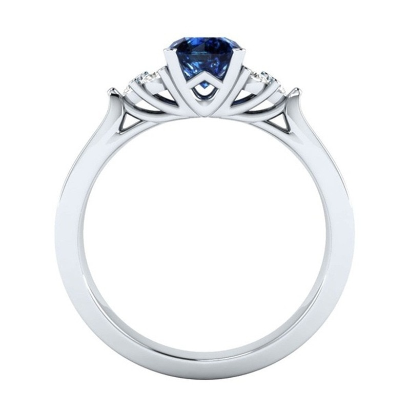 Trendy Blue Sapphire Ring Silver 925 Jewelry Gemstone Engagement Rings For Women