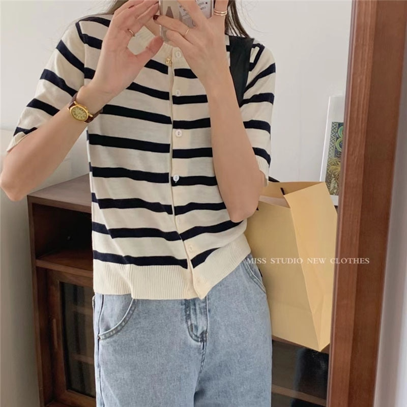 Women's Striped Short-Sleeved Sweater Summer Korean Style Lazy Style