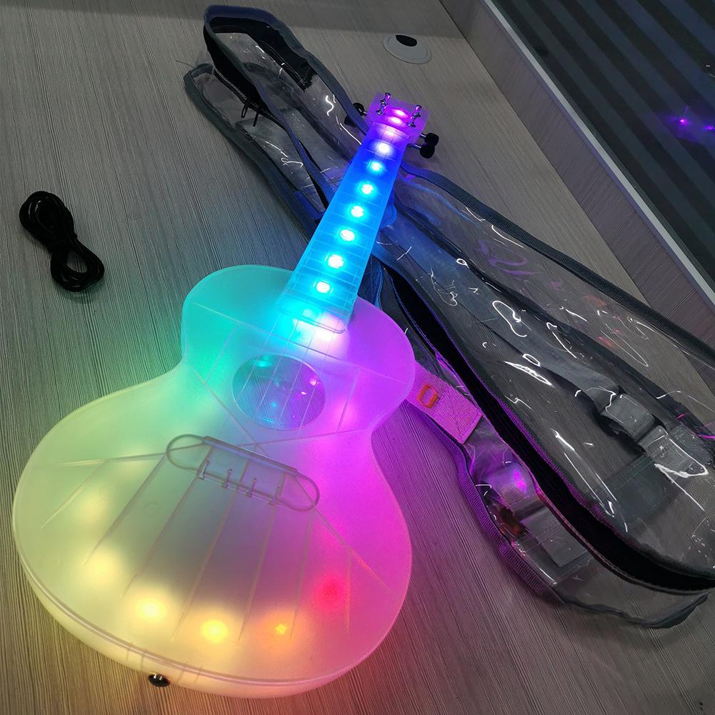 قيثارة ذكية مقاس 23 بوصة للحفلات الموسيقية ، مصباح LED فريد ، قيثارة سفر مضادة للكسر من البولي كربونات مع كابل حقيبة