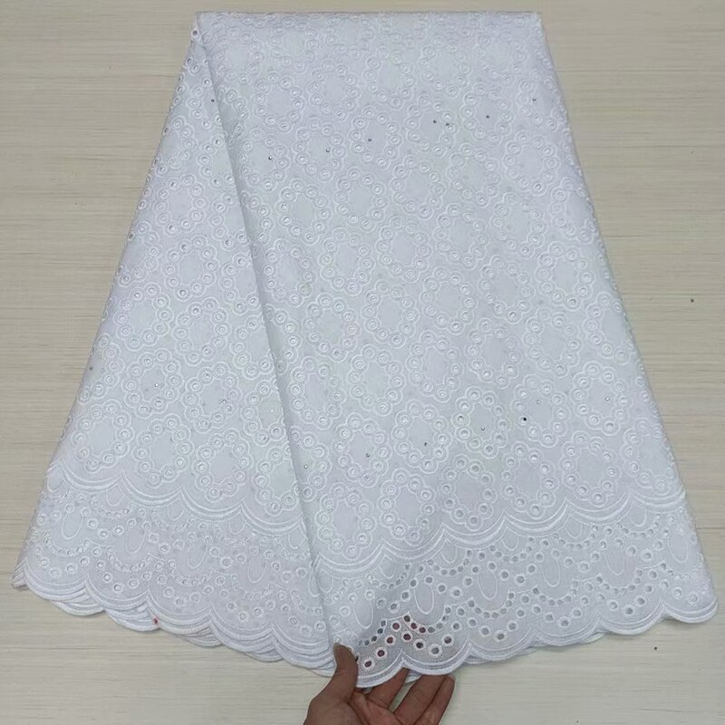 5 Yards Beautiful White Swiss Voile Lace In Switzerland African Sewing Material High Quality Cotton Nigerian Wedding Party Dress