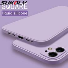 Funda de silicona líquida cuadrada de borde suave para iPhone 11 Pro Max SE 2020, funda lujosa y clásica de Color sólido para iphone X XR XS MAX 12 Color