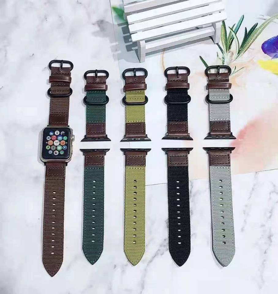 strap for apple watch 6 band 44mm 40mm 42mm 38mm leather replacement strap for iwatch apple se series 6 5 4 3 2 1 bracelet Nylon Watch band for Apple Watch SE Series 6 5/4/3/2/1 Sport leather Bracelet 42mm 44mm 38mm 40mm Strap For iwatch strap