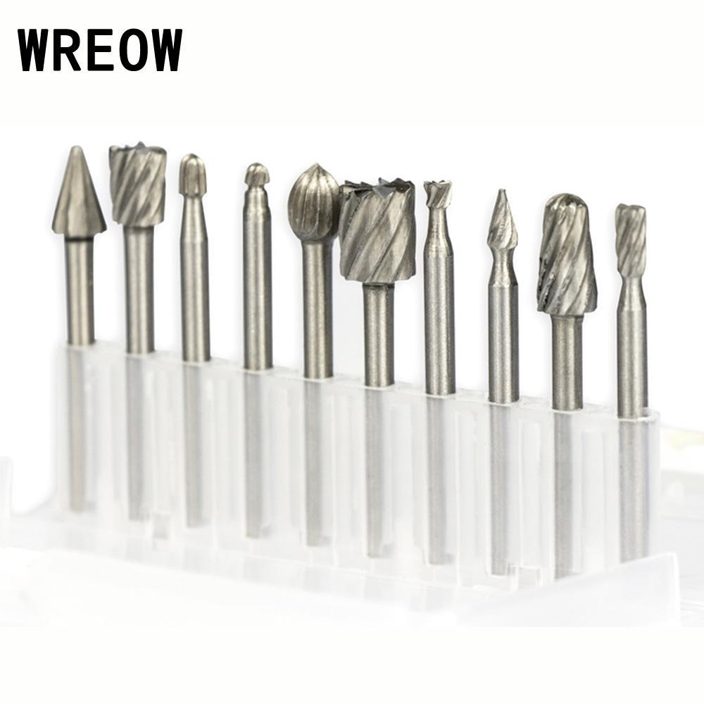 Juego de 10 unids/set rotativas de brocas de carburo HSS para fresas de carburo herramientas rotativas de rebabas de madera para tallado de Metal