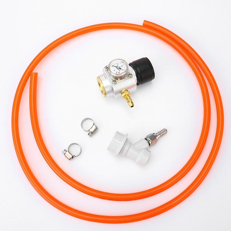 "Mini 0-90PSI CO2 Kit de cargador T21 * 4 cilindro de agua de Soda Gas Regulador Medidor de presión con 5/16 ""línea de Gas y bloqueo de bola Homebrew"