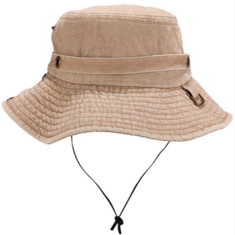 Sombrero de pescador vaquero de ala ancha con cuerda de algodón lavado ala grande pesca cubo sombrero senderismo Camping sombrero de sol de playa hombres Panamá