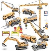 155 diecast back hoe loader 4 wheel alloy excavator model crane engineering vehicle construction alloy car toys for kids