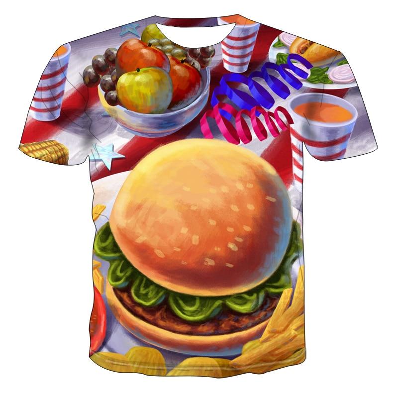2020, одежда с 3d принтом, крутая футболка, мужские и женские футболки с гамбургерами еды, стильные футболки в стиле Харадзюку