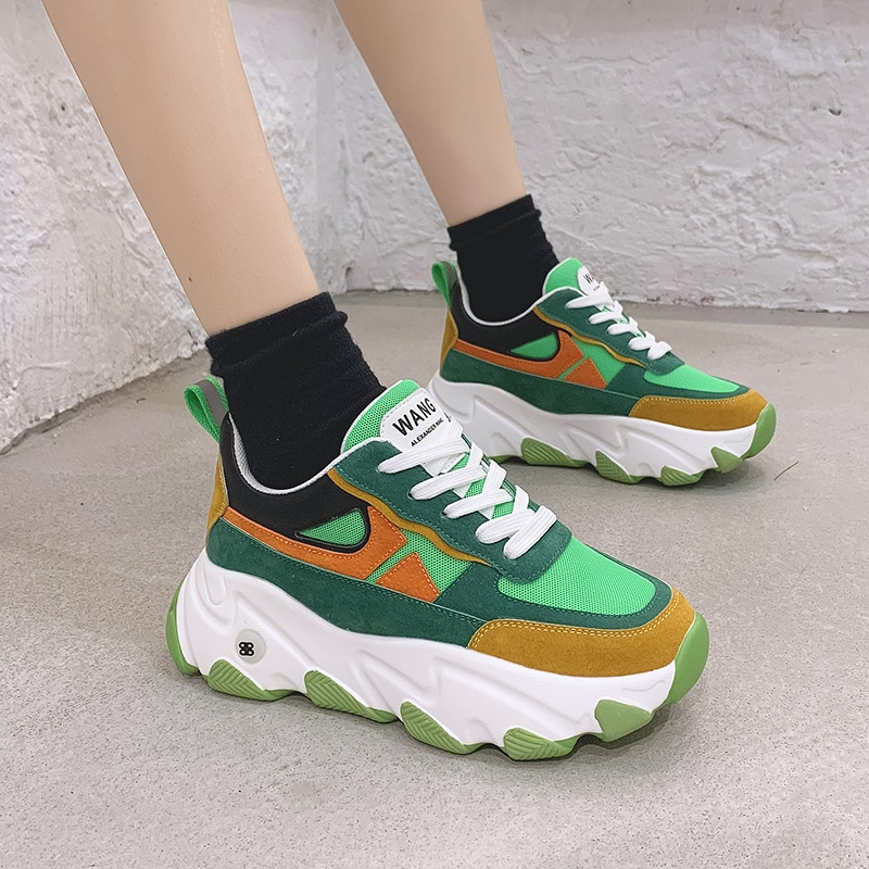 New Roman 2020 Hot Summer Women Sneakers Breathable Color Fashion Casuals Height Increasing Female Chunky Shoes Flat Platform