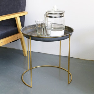 Modern simple removable bedside small table iron mini coffee tea table easy assembly sofa side table