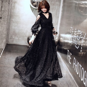 Evening Dress Fashion Black Long A-line Formal Dresses Long Sleeve V-neck Elegant Party Gown sexy dresses party night club dress
