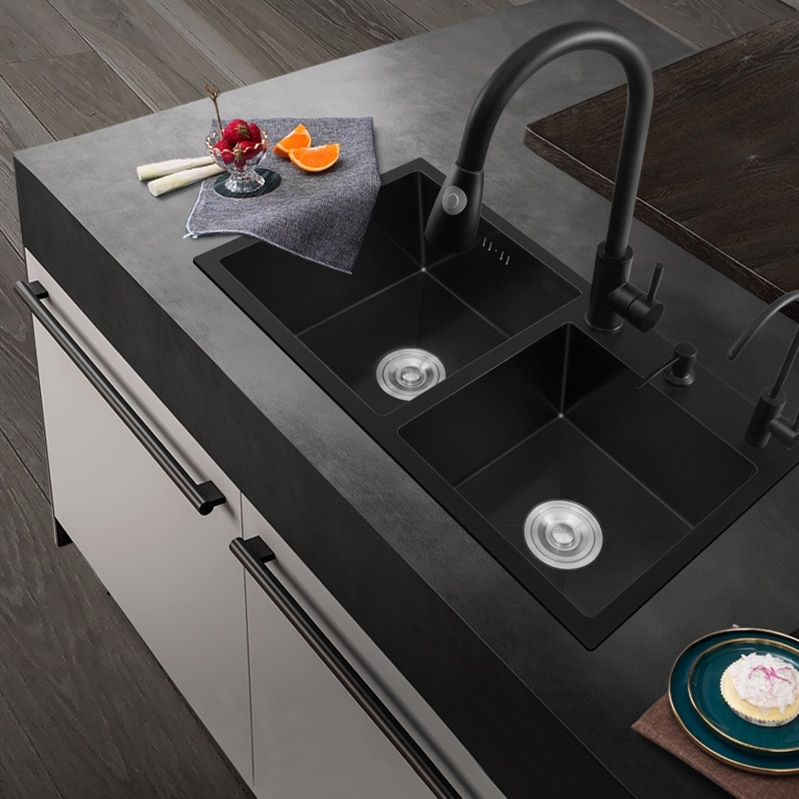 Nano fregadero doble tanque 304 acero inoxidable negro fregadero Manual sin grifo cocina fregadero doble cuenco comercial equipo de cocina