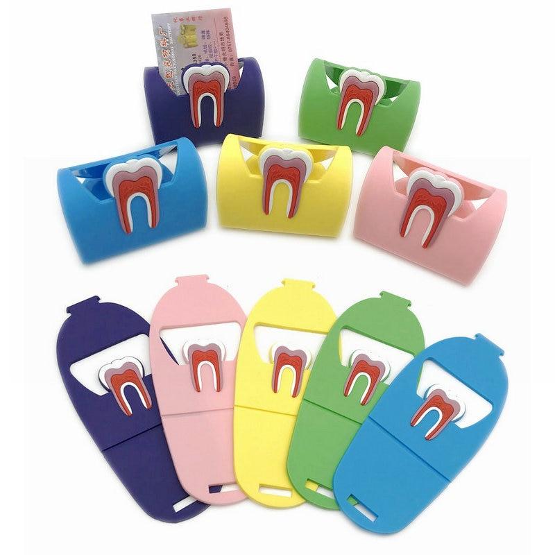 1pc Dental lindo titular de la tarjeta de goma colorida muelas de la dentadura del teléfono de la forma del nombre de la tarjeta de almacenamiento de Dsiaply soporte para clínica dentista regalo