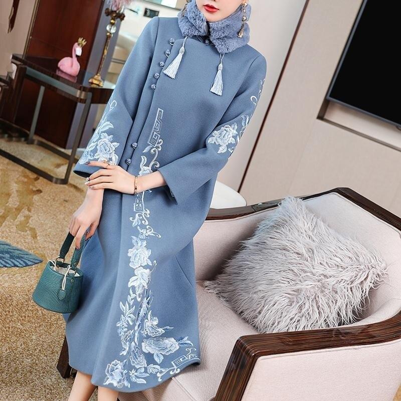 النمط الصيني هاراجوكو شيونغسام معطف المرأة خمر التطريز سترة طويلة تانغ دعوى الشتاء ملابس خارجية الإناث حجم كبير 4XL فضفاضة