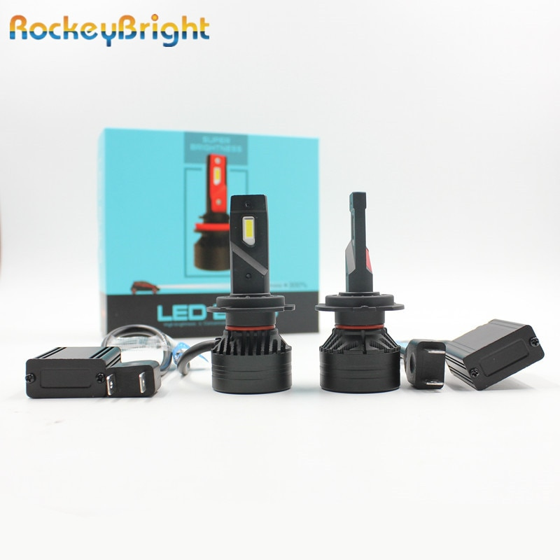 Rockeybright F3 20000lm H4 led faro H7 H8 H9 H11 faro H4 90W blanco brillante H1 H3 880 881 H16 9005 LED H7 faro