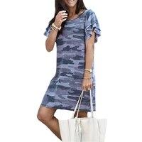 plus size 5xl dresses camo print mini dress summer short sleeve o neck women dress casual female loose t shirt dress vestidos