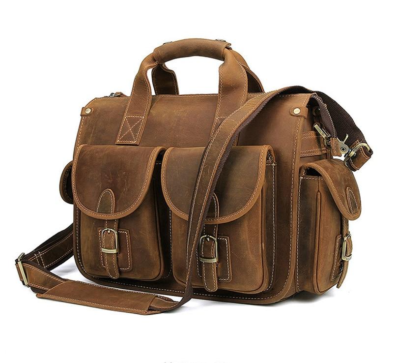 MAHEU Retro Style Designer Handbags For Men Genuine Leather Mens Handbag For 14 Inch Laptop Fashion Brand Leather Hand Bags