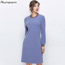 가을 봄 블루 스웨터 드레스 여성 플러스 사이즈 5xl 오-넥 긴 소매 파티 사무실 우아한 드레스 vestidos robe femme jurken