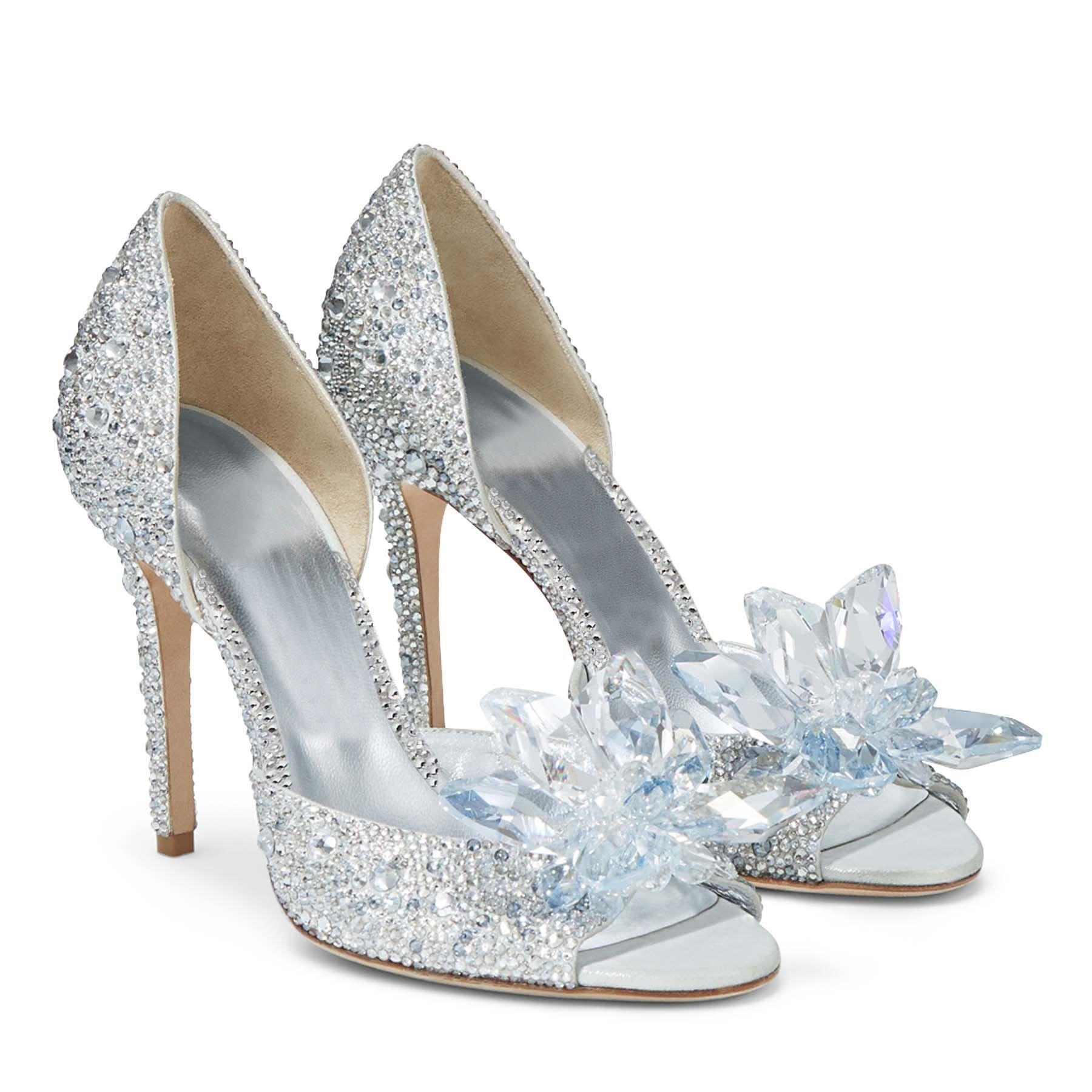أحذية نسائية بالكعب كريستال أحذية سندريل الماس عالية الكعب أحذية دبوس زينة للزفاف من حجر الراين أحذية خنجر مضخات