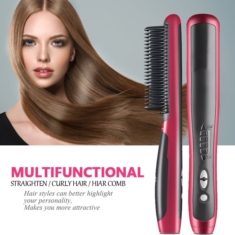 Multifunctional Hair Straightener Brush Styler Hot Comb Men Heat Ceramic Electric Beard Straightener Irons Straightening Brush