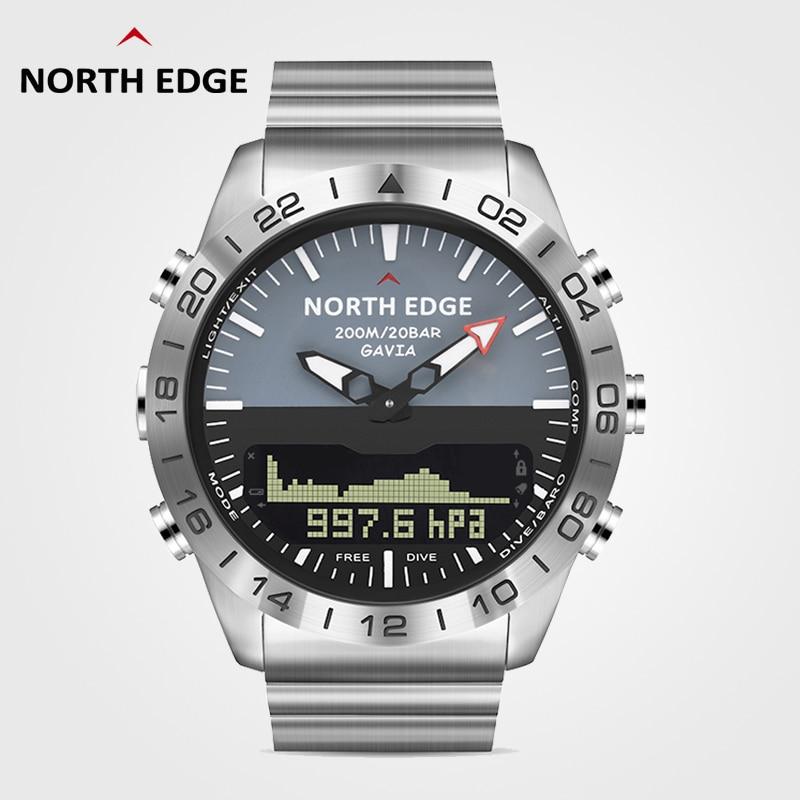 North Edge-ساعة غطس رقمية للرجال ، ساعة يد رجالية رقمية مقاومة للماء بطول 200 متر ، طراز عسكري فاخر ، مقياس ارتفاع فولاذي كامل ، بوصلة مقياس الضغط