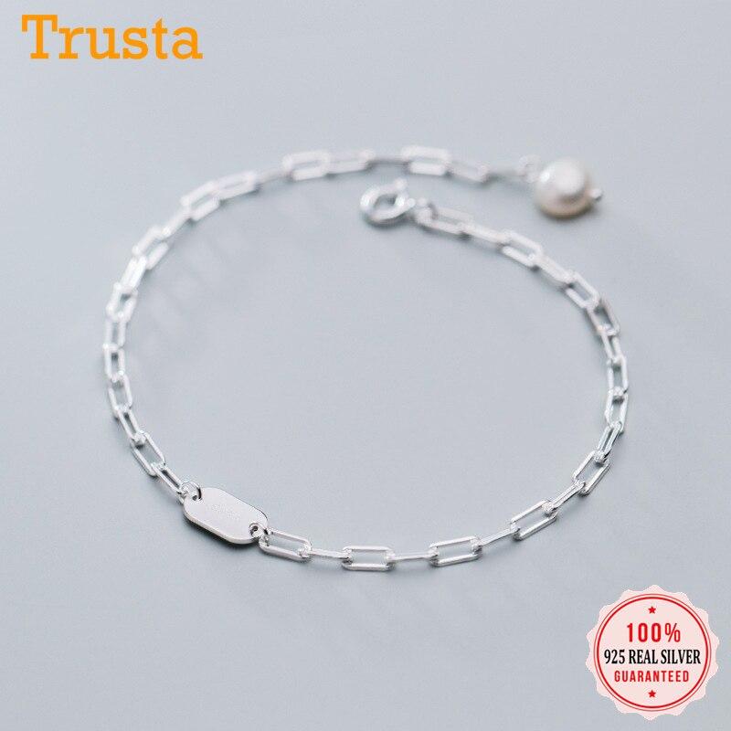Trustdavis authentic 925 prata esterlina moda ins elíptica wafer chain pulseiras para o casamento feminino s925 jóias presente da1167