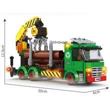 AUSINI-camion à bûches de ville, jouets en blocs de Construction pour enfants, modèle de véhicule dingénierie de Construction, travailleur sur grues, figurines miniatures