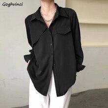 Women Shirts Temperament Simple Fashion Turn-down Collar Long Sleeve Spring Thin All-mach Elegant Of