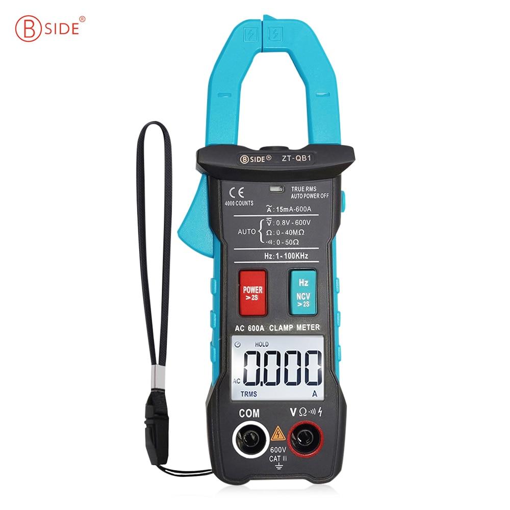 Medidor de abrazadera inteligente BSIDE ZT-QB1 600A corriente TRMS Auto-Rang DC AC voltaje amperímetro Hz Ohm NCV probador DMM multímetro
