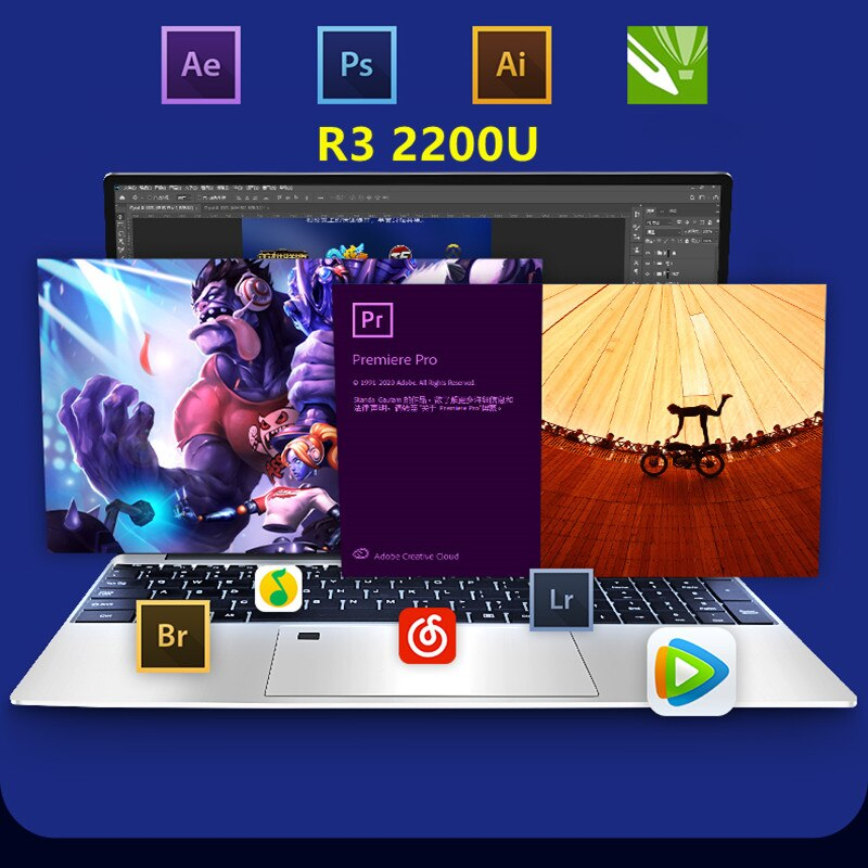 AMD Ryzen R3 2200U الترا رقيقة بصمة فتح الألعاب ، دراسة ، العمل 15.6 بوصة 16 جرام DDR4 RAM 16 جيجابايت M.2 1 تيرا بايت SSD محمول
