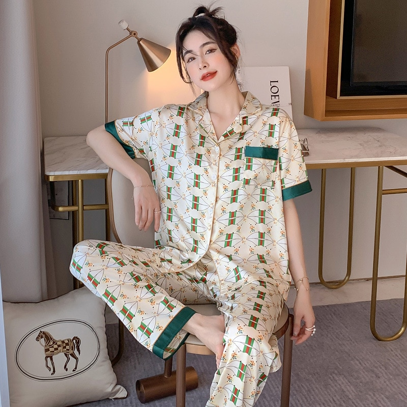 Summer Silk Pajamas Women's Silk Lapel Cardigan Loose Thin Style Home Service Fashion Ladies Satin P