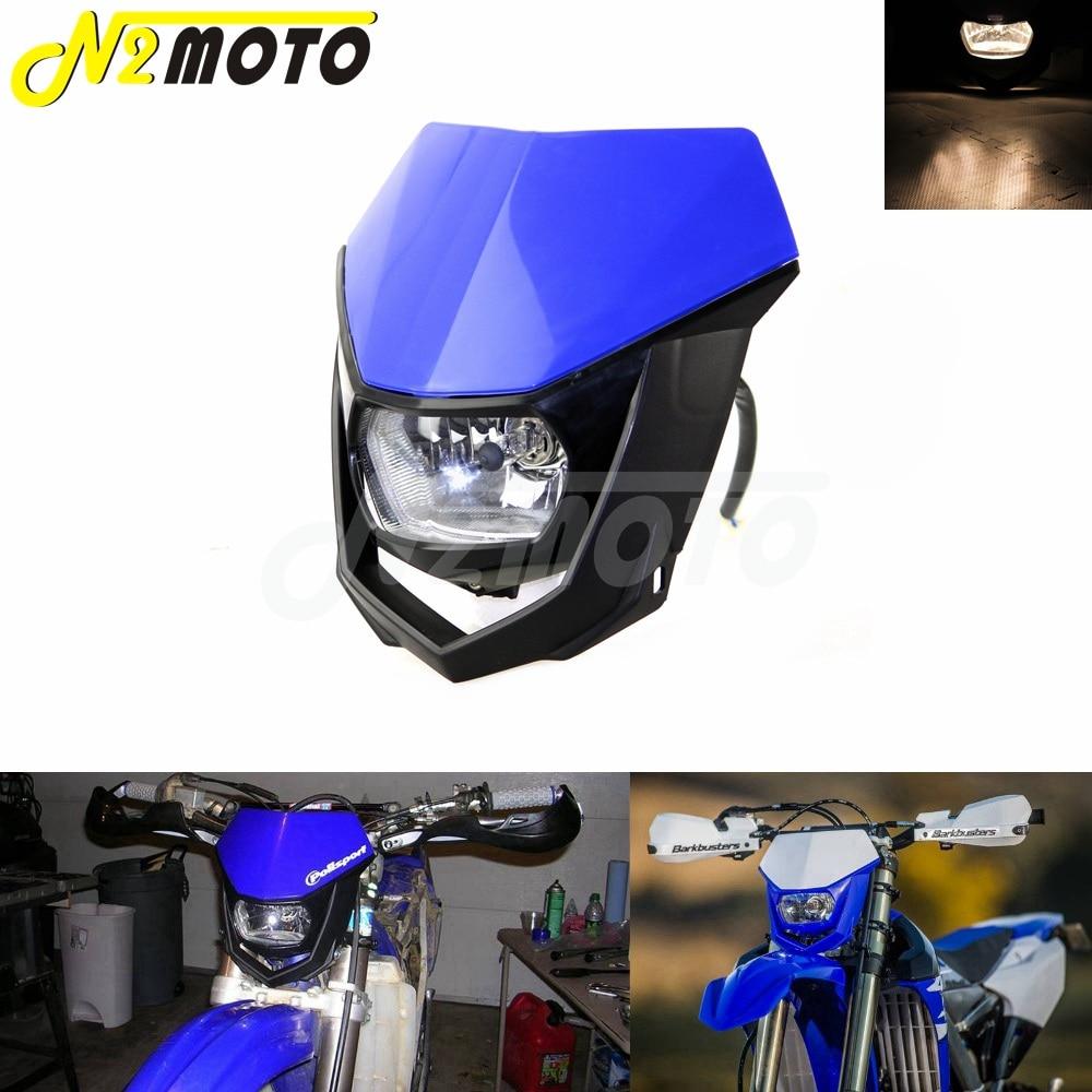 Moto saleté vélo double Sport Enduro Motocross phare carénage pour Yamaha YZ XT WR TTR TT bleu phare 12V 35W