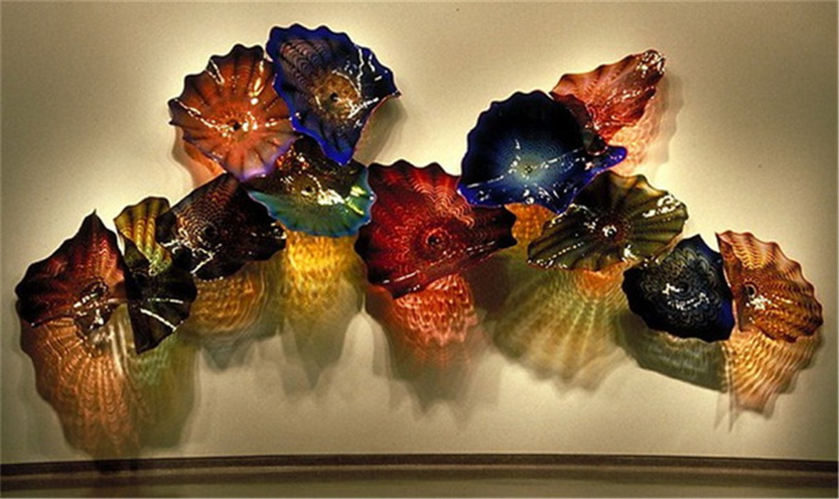 Hot Sale Wall Decoration Blown Glass Plates Flower Plates Modern Hand Made Blown Glass Flower Plates